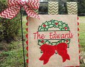 Burlap Garden Flag Custom Mr and Mrs by sewgoddesscreations