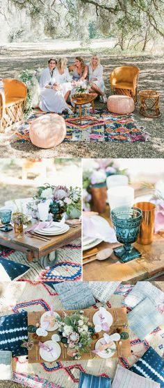 A boho brunch with to-die-for Moroccan rugs via Green Wedding Shoes