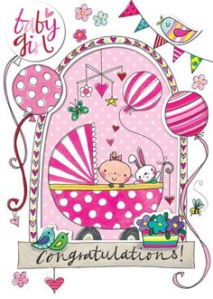 Buy Rachel Ellen Baby Girl Window Congratulations Card, Singles from our Greetings Cards range at John Lewis & Partners. Birthday Images, Birthday Cards, Congratulations Baby Girl, Baby Girl Wishes, Trendy Baby Boy Names, Baby Messages, Its A Girl Announcement, Birthday Wishes Quotes, Baby Christening