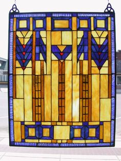 Mission Style Amber Green Stained Glass Window.