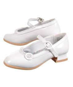 White patent leather shoes for Easter shoes.