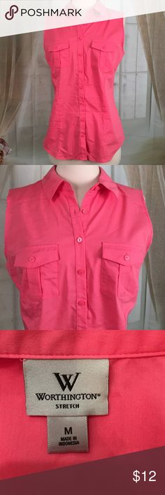 """Worthington Pink Sleeveless Blouse Very nice pink sleeveless blouse.  65% cotton, 30% polyester and 5% spandex.  New condition.  Size M.  Bust 36 and length 25"""".  TB12 Worthington Tops Blouses"""