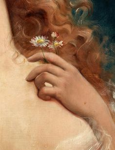 Young Woman with Daisies (detail) Emile Vernon, Oil on canvas,