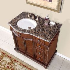 Shop for Silkroad Exclusive Sanger Bathroom Single Sink Vanity. Get free delivery at Overstock.com - Your Online Furniture Outlet Store! Get 5% in rewards with Club O! - 12409506