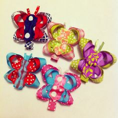Butterfly hair clips I made.. I might try to do a tutorial tomorrow but have never done one before so we will see ;)