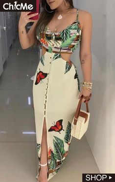 2019 Summer Women Elegant Long Casual Party Dress Female Maxi Dress Ladies V-Neck Spaghetti Strap Tropical Print Cutout Dress Maxi Dress With Slit, The Dress, Bodycon Dress, Tube Maxi Dresses, Trend Fashion, Womens Fashion, Fashion Blogs, Style Fashion, Fashion Weeks