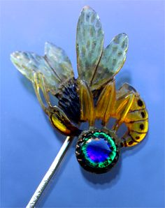 This is not contemporary - image from a gallery of vintage and/or antique objects. ART NOUVEAU  Wasp Stick Pin  Horn