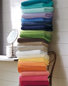 Can't forget towels.. that would be bad! (in light blue) Garnet Hill Signature Towels #dryoff