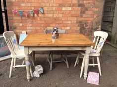 Solid pine country cream vintage farmhouse cottage style dining table £169.00