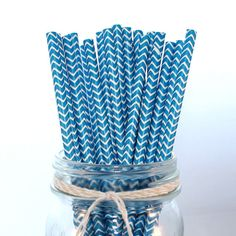 Royal Blue Chevron Paper Straws, great for Baseball or Sports Baby Shower or Birthday