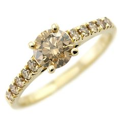 Jewelry Point - 1.04ct VS1 Champagne Diamond Engagement Ring 14k Yellow Gold, $1,690.00 (http://www.jewelrypoint.com/1-04ct-vs1-champagne-diamond-engagement-ring-14k-yellow-gold/)