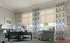Cellular Shade with cordless Lift, Single Cell: Garden Retreat, Brulee 0785; Drapery with Wrapped Tab: Kalle, Azurine 3140.