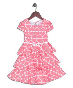 Love this Coral & White Origami Heart Tiered Dress - Toddler & Girls on #zulily! #zulilyfinds