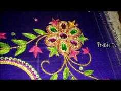 simple maggam work blouse designs | hand embroidery tutorial for beginners,basic embroidery stitches - YouTube