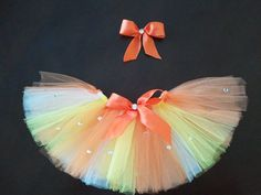 Dog/Pet Halloween Candy Corn Costume Tutu Small with Matching Hair Bow Clip on Etsy, $20.00