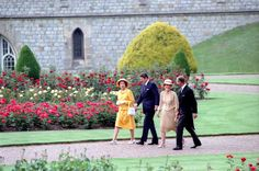 President Ronald Reagan, Nancy Reagan, Prince Philip, and Queen Elizabeth II visiting Windsor Castle during a trip to the United Kingdom. 6/7/82.