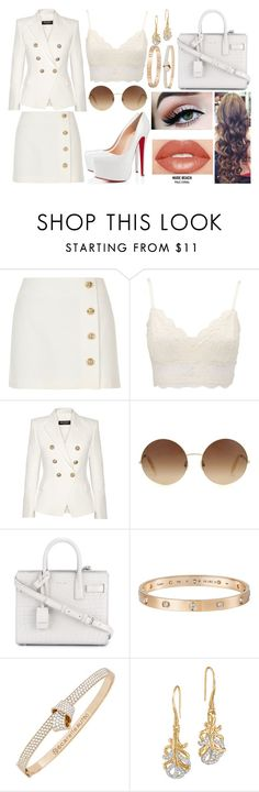 """Untitled #67"" by skyelabeaumont ❤ liked on Polyvore featuring River Island, Charlotte Russe, Christian Louboutin, Balmain, Victoria Beckham, Yves Saint Laurent, Cartier, Carelle, John Hardy and Anastasia Beverly Hills"