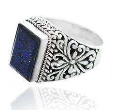 Sterling Silver .925 Rectangular Lapis Filigree Ring - Artune Jewelry Online