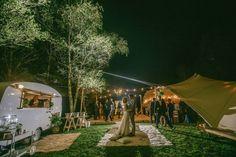 Wedstival in Warburton, Victoria.  Caravan Bar, Festoons, Tipi Marquee