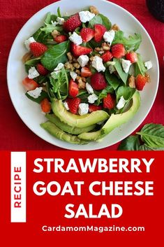 This strawberry goat cheese salad is brimming with California flavor. Filling and healthy, it's loaded with fresh ingredients including walnuts and avocados, and topped with a homemade strawberry balsamic vinaigrette. #saladrecipes #saladideas #saladrecipeshealthy #strawberryrecipes #goatcheese