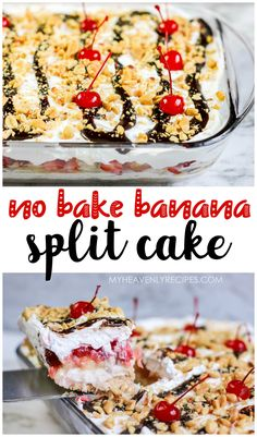 No Bake Banana Split Cake recipe- cold dessert to make for a summer party! Easy layered cake that is so fun! Cold Desserts, Pudding Desserts, Desserts To Make, Delicious Desserts, Dump Cake Recipes, Dessert Recipes, Fun Baking Recipes, Dessert Ideas, Banana Split Cake Recipe