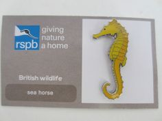 Charity Pin Badge RSPB Giving Nature A Home Sea Horse Enamel British Wildlife