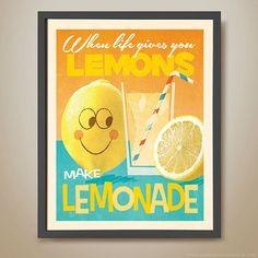 Child poster with a glass of lemonade and a smiling lemon