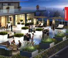 Large outdoor terrace deck at the Humber Bay Etobicoke Waterways condos. (cafe area ?...)