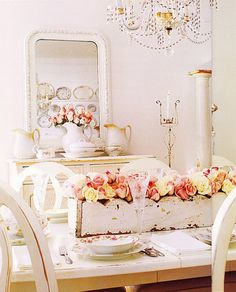 love the shabby chic box on the table with the flowers