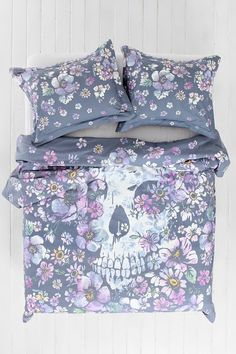 Plum & Bow Skull Flower Duvet Cover