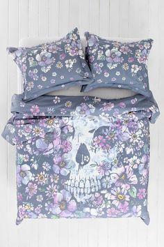 Plum & Bow Skull Flower Duvet Cover. OH HELLS YES!!!
