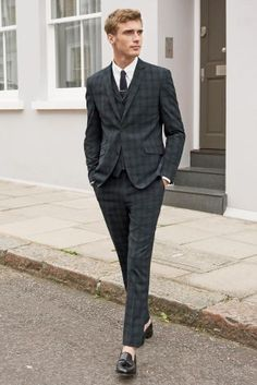 Grey Brown Check Slim Fit Suit: Jacket | Three piece suits ...