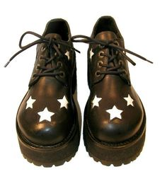 Vintage Mens Platform Shoes Black & White Star Munro Club Kid Stacks by Atomicfireball, $135.00