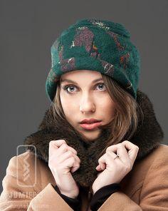 Green Felt Hat - Soft Wool Warm Headpiece