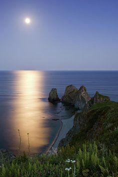 Full Moon On Cape Four Rocks Japan sea