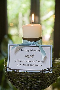 A great way to remember loved ones! Light a candle at the wedding for ones that have pasted on and are there in spirit....
