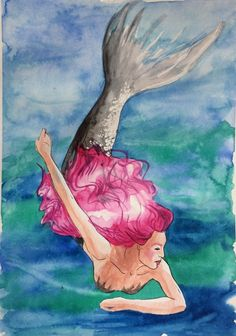 Sirena en acuarelas. Mermaid watercolour