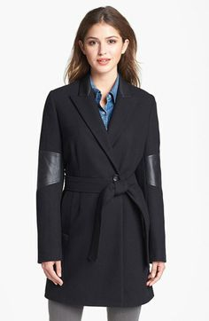 Calvin Klein Faux Leather Trim Wool Blend Coat available at #Nordstrom