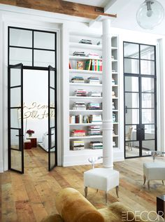 Metal and glass doors to the bedroom in a Manhattan loft via @thouswellblog