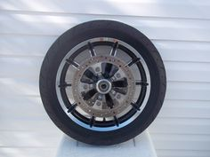 """http://motorcyclespareparts.net/harley-stock-blk-chrome-17-front-wheel-wrotors-tire-14up-touring-models/Harley Stock Blk & Chrome 17"""" Front Wheel w/Rotors & Tire '14/Up Touring Models"""