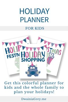 Keep your family organized by planning your family's holiday activities. This colorful planner for kids and the whole family to use to plan your holiday season. Buy Now! #holidayplanner Buy Now! #holidayplanner Summer Planner, Kids Planner, Holiday Planner, Holiday Activities, Summer Activities, Family Organizer, Holidays And Events, Printable Planner, Marketing And Advertising
