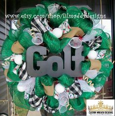 Golf Mesh Wreath by lilmaddydesigns on Etsy, $95.00