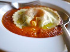 Egg Yolk Ravioli (Uova Da Raviolo) With Bacon-Sage Sauce Recipes ...