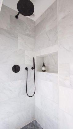 Black and White Bathroom Design . Black and White Bathroom Design . A Contrasting Black and White Bathroom Echoes the Floor Laundry In Bathroom, Small Bathroom, Master Bathroom, Neutral Bathroom, Master Baths, Colorful Bathroom, Master Shower, Bathroom Tile Designs, Bathroom Interior Design