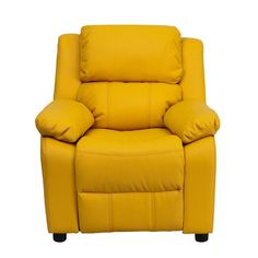 Flash Furniture Deluxe Heavily Padded Contemporary Yellow Vinyl Kids Recliner with Storage Arms and Headrest