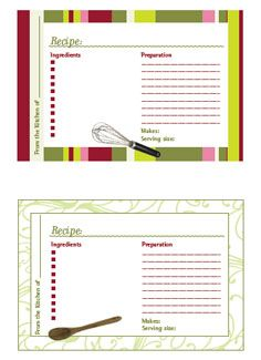Printable Recipe Cards. Love the layout of these cards but want just plain cards not designs... that eats the ink of the printer. Still hunting for the perfect recipe cards ~!~