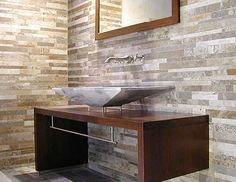 """STRIPS"" mixed color Tuscan travertine by Pietre di Rapolano Stone Bathroom Sink, Stone Sink, Beige Bathroom, Wood Bathroom, Bathroom Ideas, Clever Design, Love Home, Bathroom Inspiration, Double Vanity"