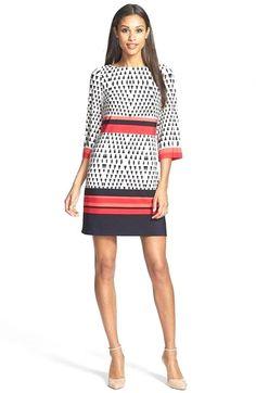 Eliza J Print Stretch Jersey Sheath Dress Batik Fashion, Girl Fashion, Fashion Outfits, Pretty Dresses, Dresses For Work, Professional Wear, Formal Looks, Blouse Dress, Nordstrom Dresses