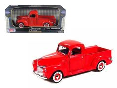 1940 Ford Pickup Truck Red 1/18 Diecast Model Truck by Motormax - Brand new 1:18 scale diecast model of 1940 Ford Pickup die cast truck by Motormax. Has steerable wheels. Brand new box. Rubber tires. Made of diecast with some plastic parts. Detailed interior, exterior, engine compartment. Dimensions approximately L-10,W-4,H-3,5 inches. Please note that manufacturer may change packing box at anytime. Product will stay exactly the same.-Weight: 4. Height: 8. Width: 15. Box Weight: 4. Box…
