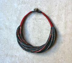 07-Collana girocollo in tessuto/ girocollo seta di cravatte vintage / riciclo creativo cravatte /pezzo unico / ecologica